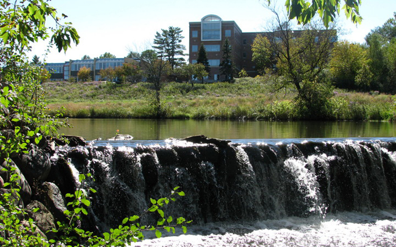 Carleton College campus waterfall. Photo credit Doug Bratland.