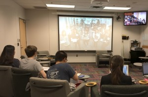 "Students in a ""90-minute study-abroad"" via video conferencing."