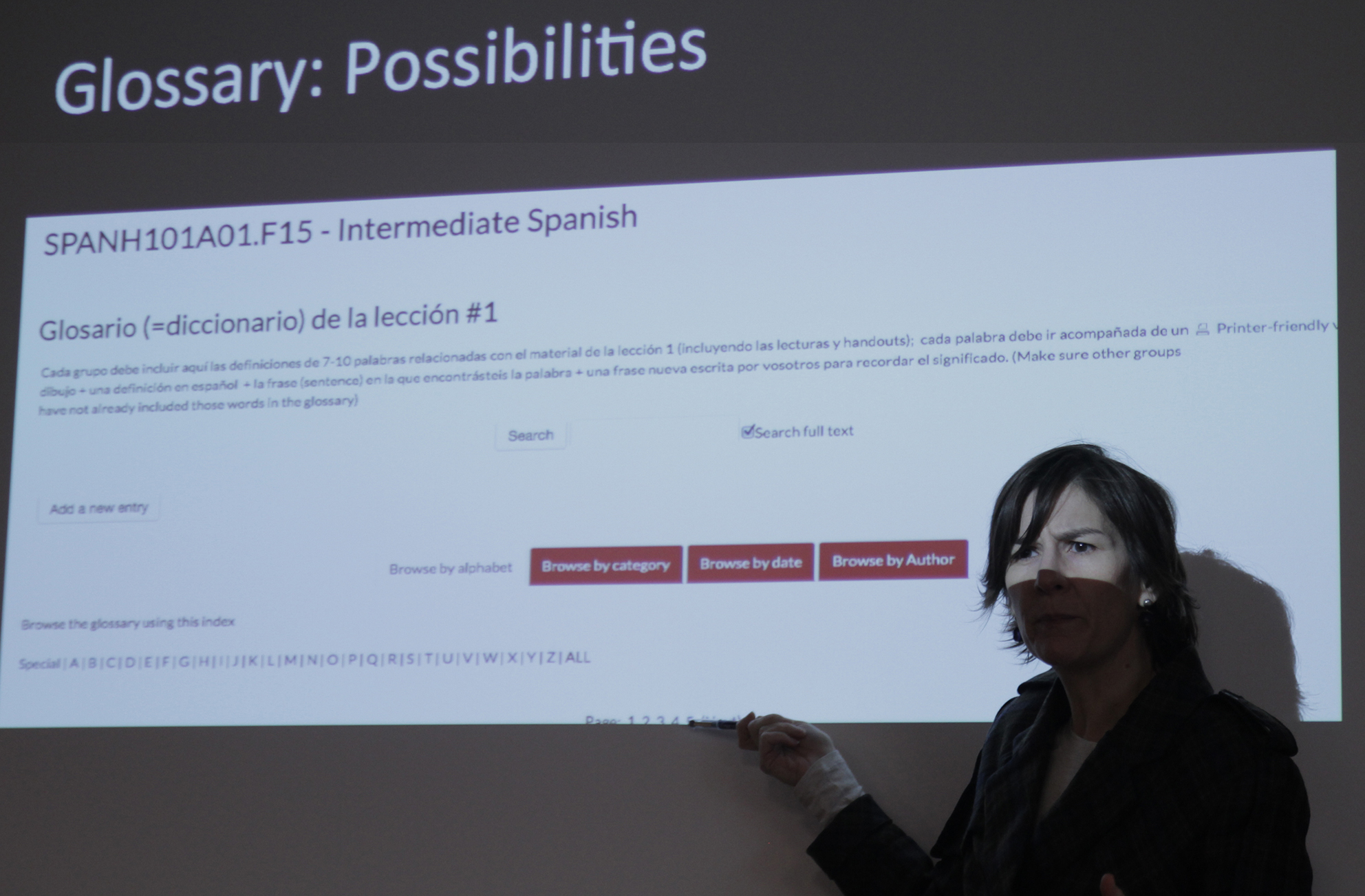 Ana López Sánchez, Asst. Professor of Spanish, describes her students' online glossary project.